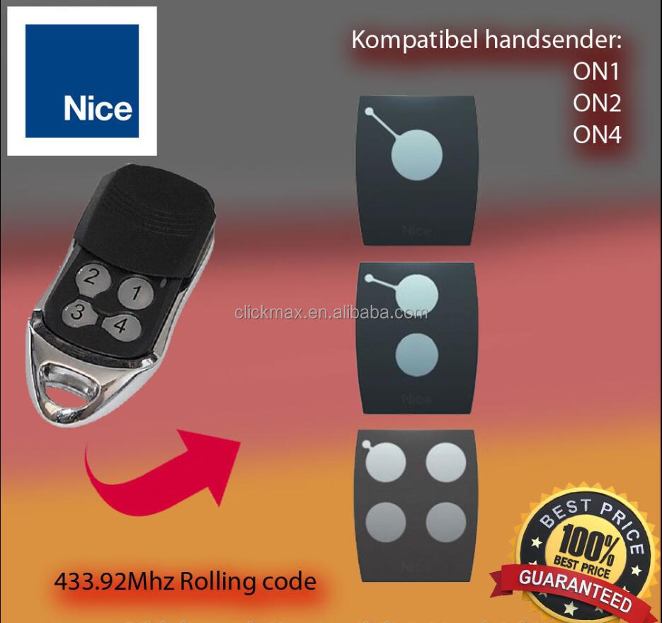 For Nice ON1 ON2 ON4 Replacement Remote Control Garage Gate 433.92 Mhz Rolling Code