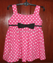 Wholesale new kid dress baby girl dress white polka dot pink dress with bowknot
