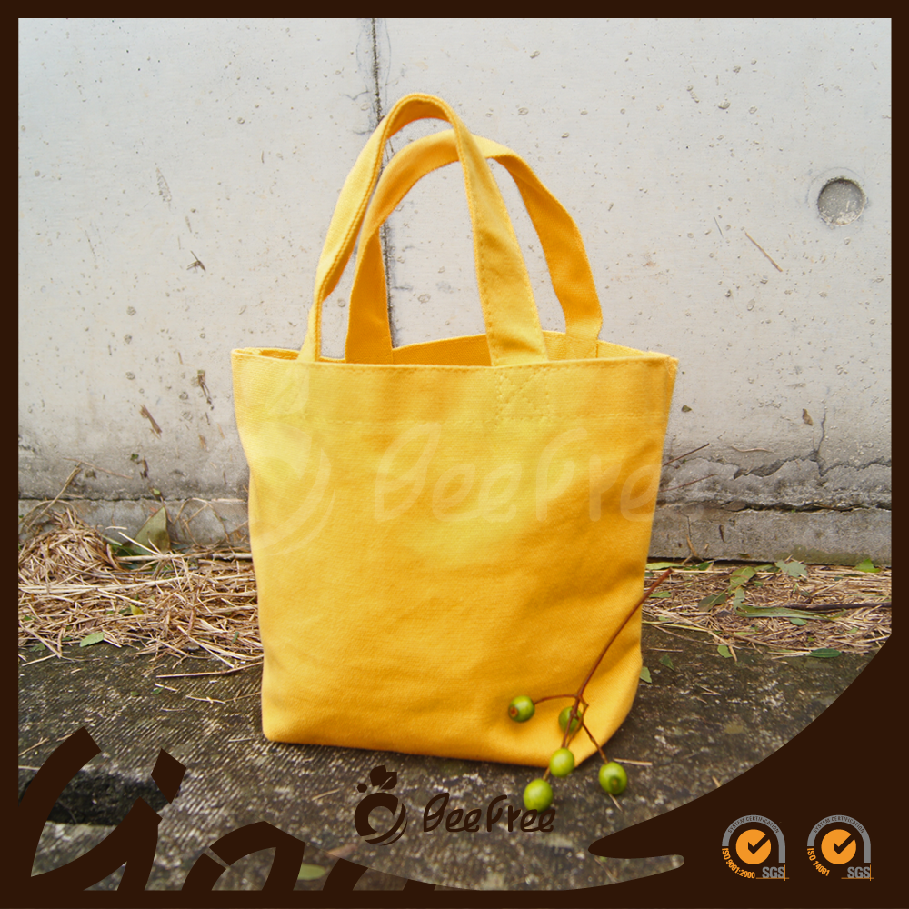 Wholesale Handmade Yellow Small Canvas Cotton Tote Bag