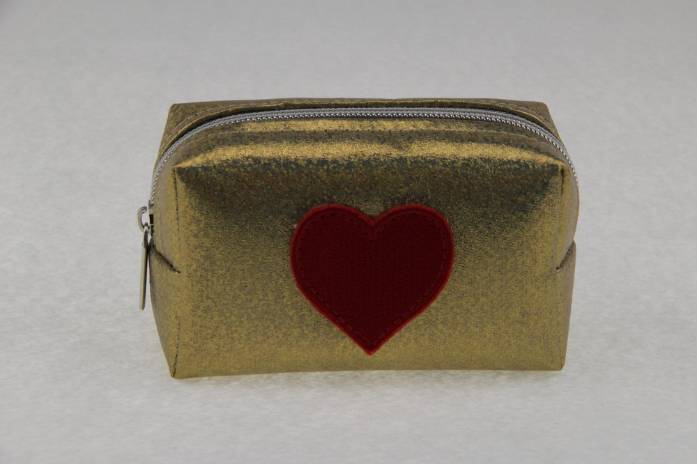 2015 Hot sales bling bling gold with red heart cosmetic bag