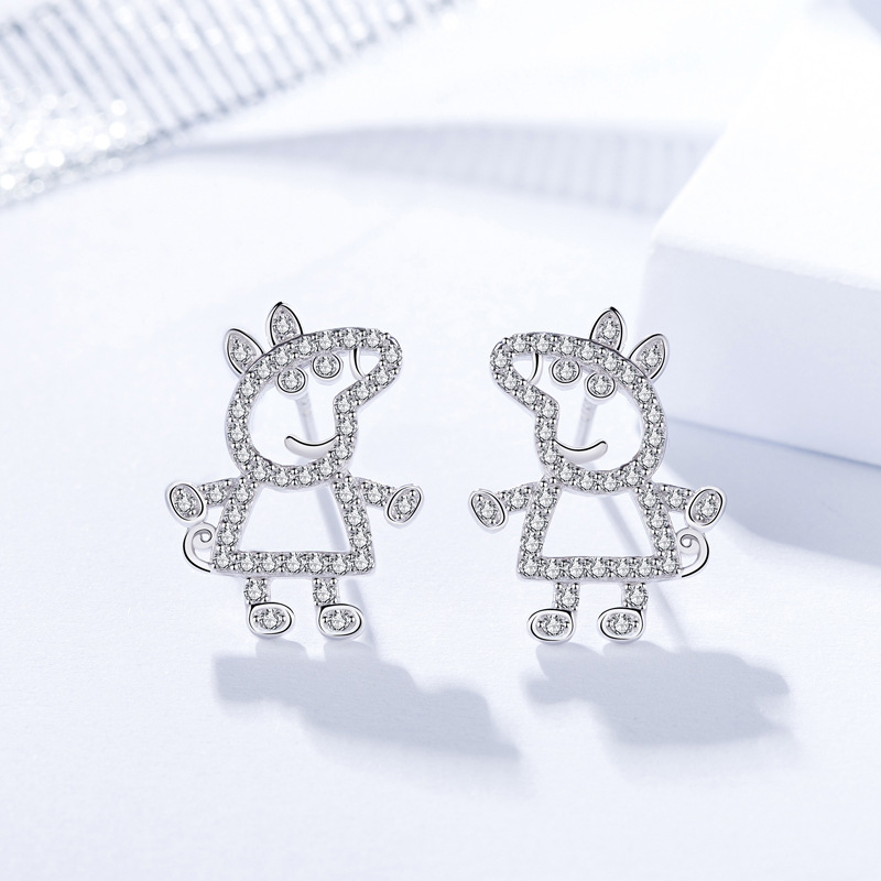 Cute Peppa pig 925 sterling silver <strong>earrings</strong> for kids
