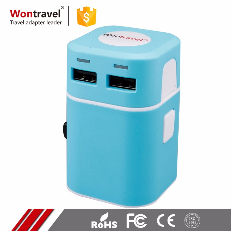 Any Color Dual USB Plug Charging Universal Travel Adapter Competitive Prices AC DC Adaptor