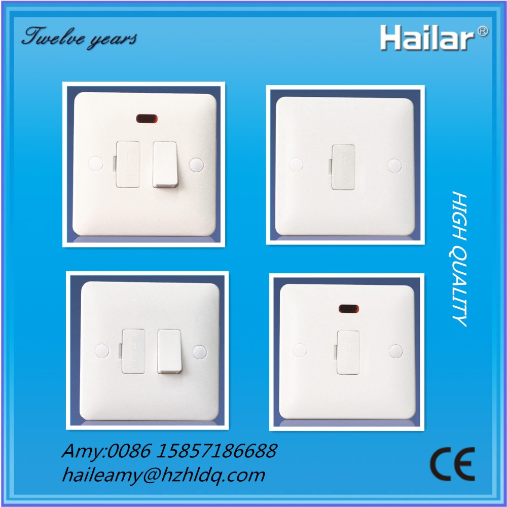 Z Range- Hailar- British standard wall switch fused spur, 3A,5A,13A fused connection unit+neon, switched FCU's+neon