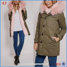 Top High Quality Ladies Long Coats And Jackets Woman Pink Fur Lined Parka Coat