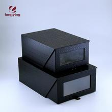 New design drawer packaging gift box ,pull-out shoe gift boxes wholesale black cardboard shoe box