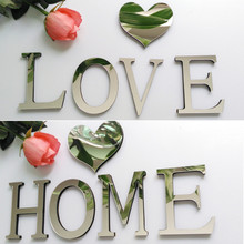 10cmx8cmx1.2cm(thick) wedding love letters Home decoration English 3D Acrylic mirror wall Stickers Alphabet Home Decor For wa