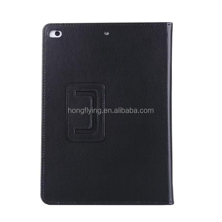 New Arrives Black Tan Smart Stand Wallet Folio Flip Cover leather case for tablet with A Pocket For File China for ipad air 2