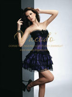 #A070 Satin Shiny Trible Layer Lace Ruffle Corset Wholesale Support