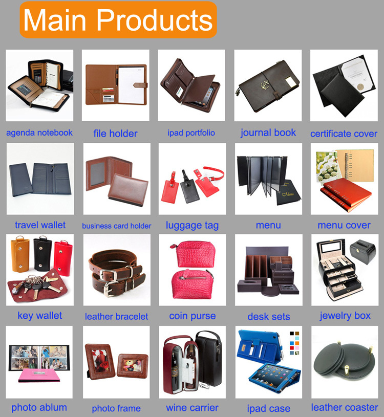 PU leather pocket memo pad with cards slots and various color