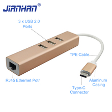 Reversible USB 3.1 Type C to 3 Ports USB 2.0 HUB RJ45 Ethernet Network LAN Port Adapter for Macbook