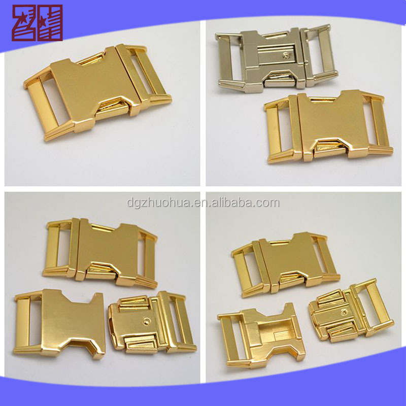 metal 1'' side release gold buckle for bag,metal gold buckle