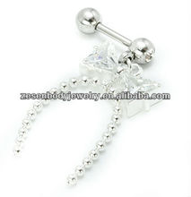 Top quality OEM gift body jewelry piercing dangle eyebrow rings