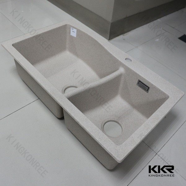 white integrated kitchen sink and countertop