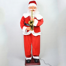 christmas outdoor decoration 1.8m playing saxophone santa claus