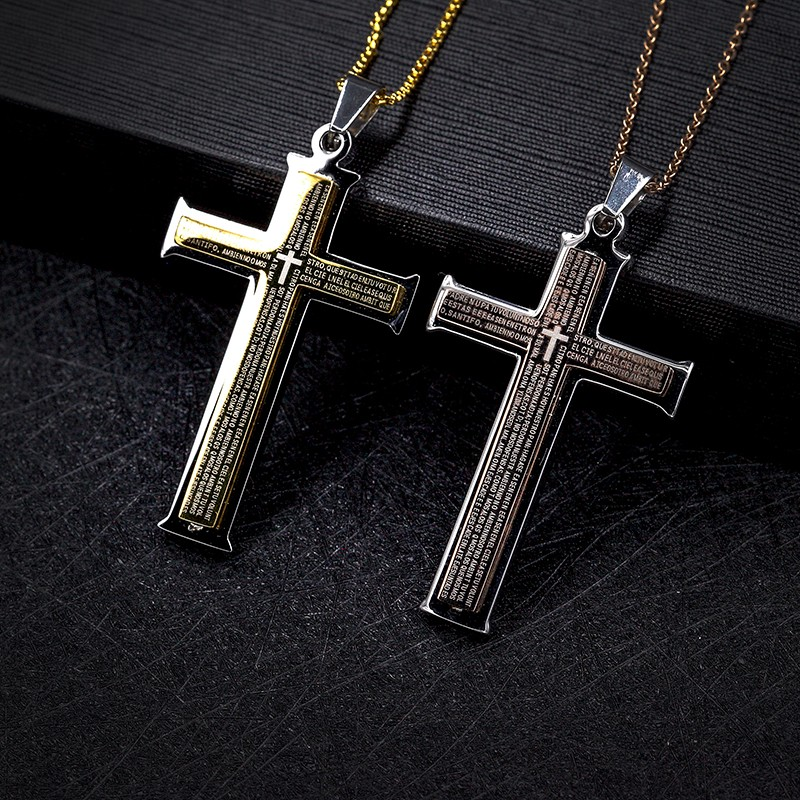 Top Selling Mix Colour Stainless Steel Mens Womens Cross Necklace Lord's Prayer Cross Pendant
