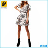 Pink floral print belted wrap casual collarless mini street outings shirt dress