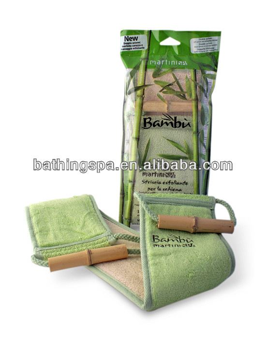 Hot selling bamboo loofah back scrubber