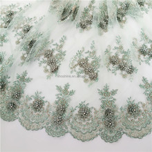 Popular new french lace fabric embroidery swiss voile tulle sequin ankara lace fabric for bridal Lace
