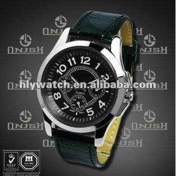 ( New Arrival High Quality Black Leather Strap Sport Watches Men) HLY-234