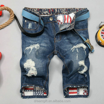 2015 Spot wholesale size 28-38 hole rotten supplement the fashionable men short jeans Denim Shorts leg jeans (13146)