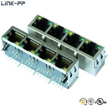 1*4 Port RJ 45 Magjack 1x4 Port RJ45 LED Connector with 90 Degree 1-6610023-1 6610023-1 1840541-1 6-6610023-1