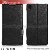 Lcarer Litchi Grain Genuine Leather Flip Case Cover for Sony Xperia Z2 D6502 (Black)