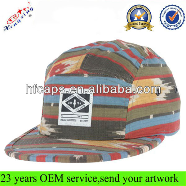 Floral/flower design your own cheap custom flat brim 5 panel hats