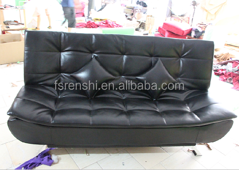 Black leather loveseat sofa / Leather folding sofa bed /Sofa cum bed designs leather B821L#