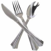 disposable silver plated plastic cutlery set with fork, knife,spoon and spork