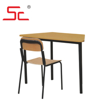 Trapezoid study desk and chair set in school set