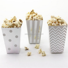 Gold Silver Foil Chevron Polka Dot Striped Popcorn Box,Paper Treat Box