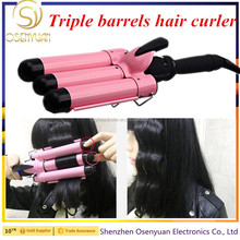 LCD Display Professional Electric Hair Curling Irons Wand Ceramic Triple Barrel Waver Roller Hair Curler Deep Big Wave Crimper
