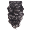 Full head set 140g 10pcs body wave clip in malaysian hair extensions for black women