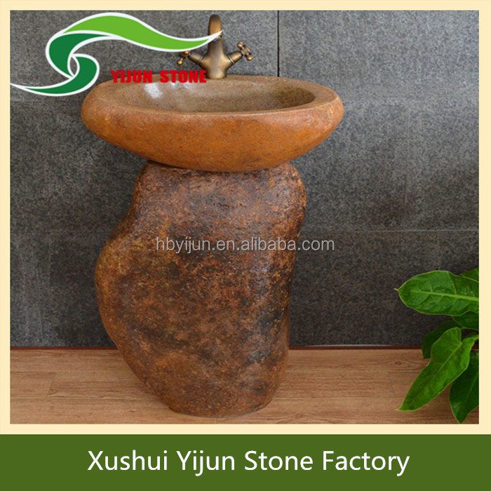 High Quality Free Standing Natural Pebble Stone Carved Garden Stone Water Basin