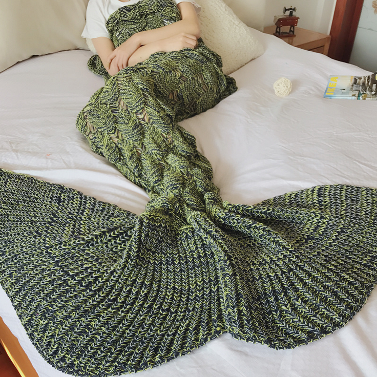 HOT SALES BeddingOutlet Handmade Yarn Knitted Mermaid Tail Blanket for Adult Kids Throw Bed Wrap Super Soft Crochet Warm Blanket