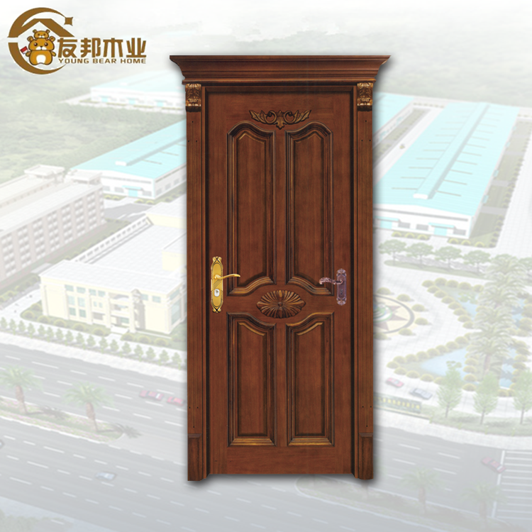 Quality assurance guaranteed supplier YBH mahogany arched interior sound proof door house project front door lacquered