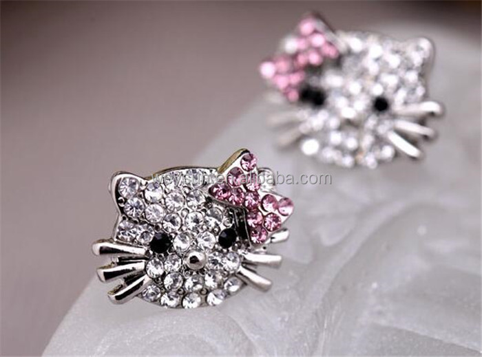 Fashion Crystal Cat Rhinestone Hello Kitty necklace Bowknot KT Jewelry For Girls Necklace