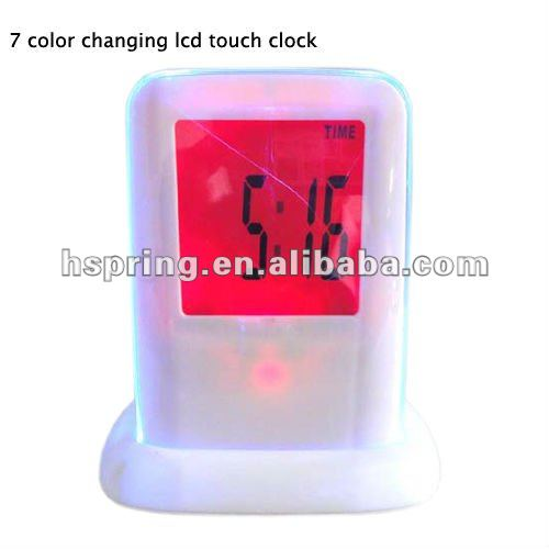 7 colors changing touch screen table lcd clock -new style