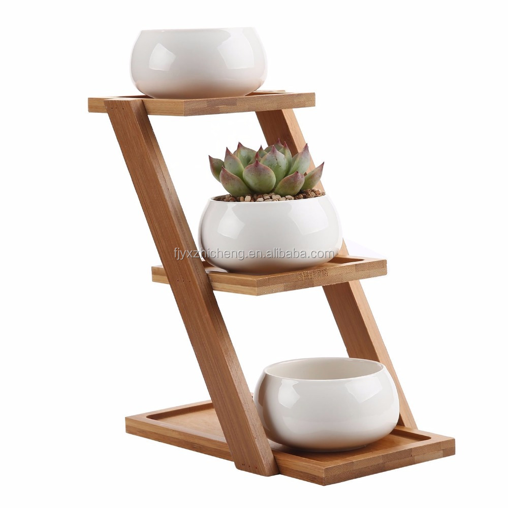 Modern Decorative Succulent Plant Pot Holder 3 Tier Bamboo Stand