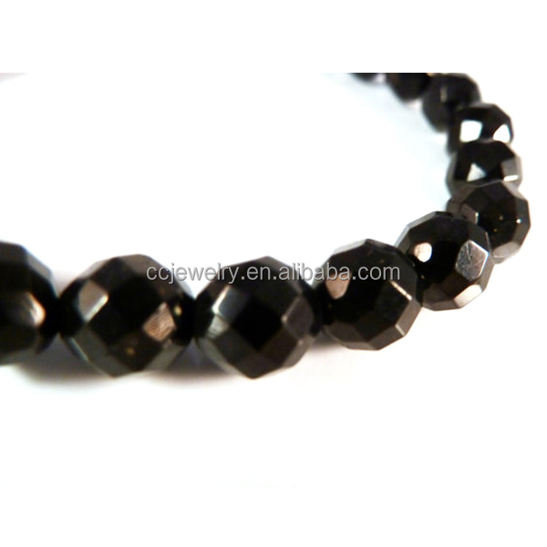 Jet Stretch Bracelet Faceted Gemstone 8mm Bead Bracelet Lignite Black Amber Witches Amber Semi Precious Stone Bracelet