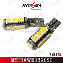 Factory direct sales T10 13pcs 5050 SMD Canbus Signal Light LED 12V DC polarity car led bulb T10 canbus car led lamp