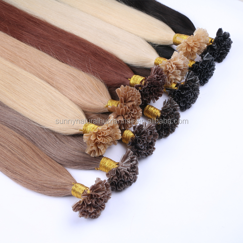 "<strong>u</strong> tip hair <strong>20</strong>"" colorful black brown blond 100 keratin tipped human hair extension Russian nail tip hair extension"
