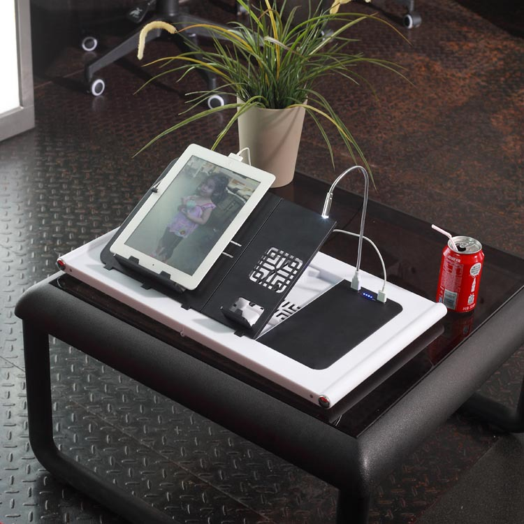 Folding&portable Smart Table ABS Plastic Laptop Desk equipped with 10000mAh Battery Charger
