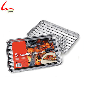 BBQ Used Disposable Eco-friendly Rectangular Aluminium Foil Grill Tray