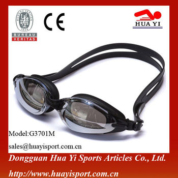 One color mirror coated oem logo silicone anti fog swimming goggles