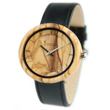 Vogue Wholesale Hand Made Olive Wood Watch Leather Band