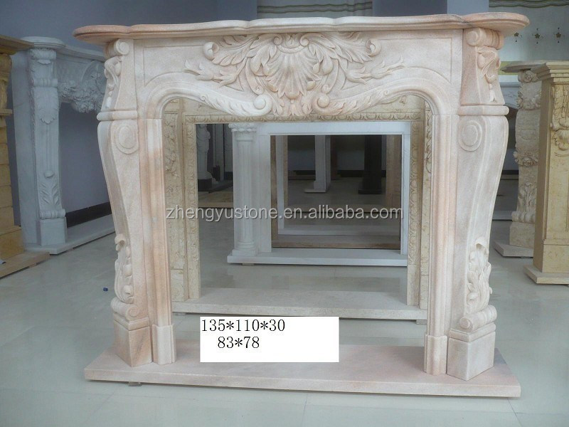 Top quality modern beige stone electric fireplace