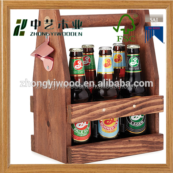 China factory FSC OEM pine 6 pack wooden beer wine storage box tote carrier with can bottle opener