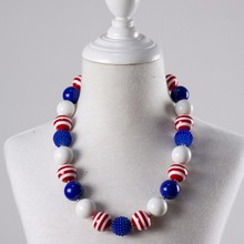 4th of July Red White Blue American Flag Baby Chunky Beads Necklaces bulk bubblegum beads chunky necklace