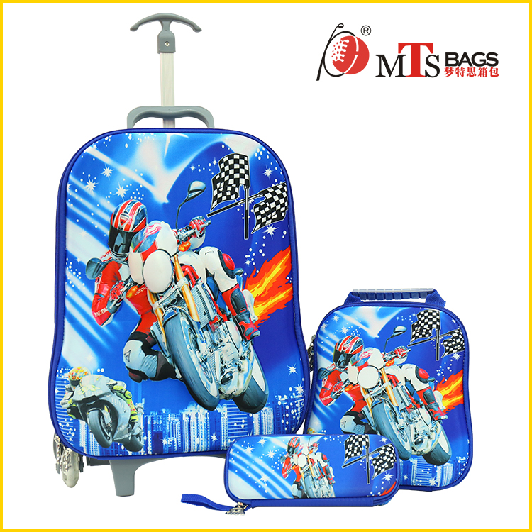 new arrival motorcycle picture luggage travel eva 3d printing craft boys kids trolley school bag